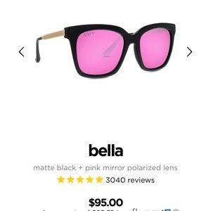 """Diff """"Bella"""" Pink Mirrored Polarized Sunglasses"""